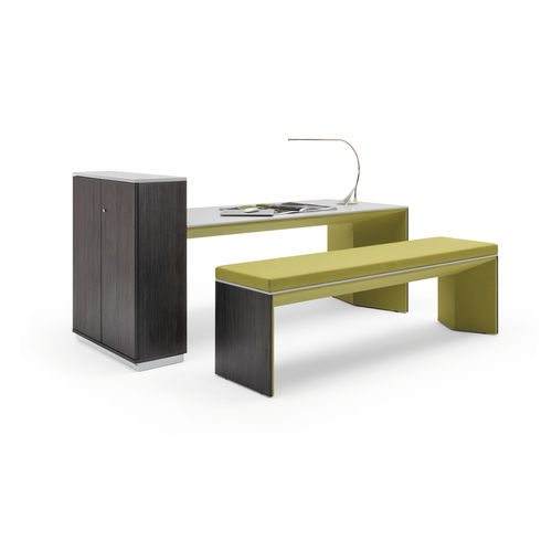 contemporary bench and table set / wooden / fabric / indoor