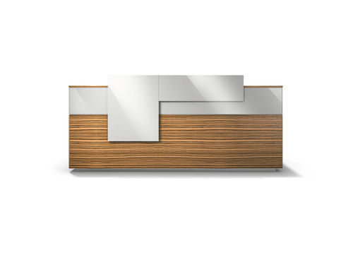 corner reception desk / modular / wooden / laminate