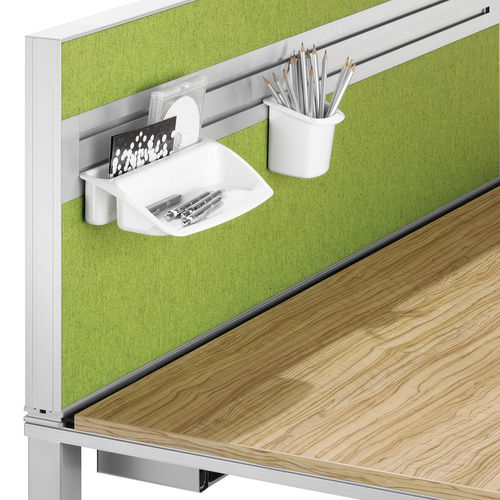 countertop office divider / fabric / glass / polyester