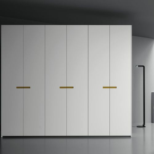 contemporary wardrobe / lacquered wood / ash / with swing doors