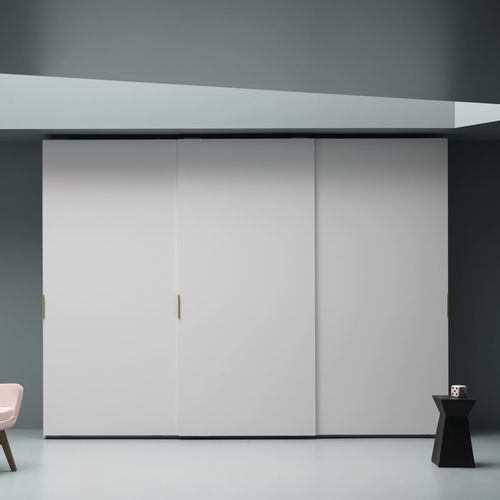 contemporary wardrobe / lacquered wood / ash / sliding door