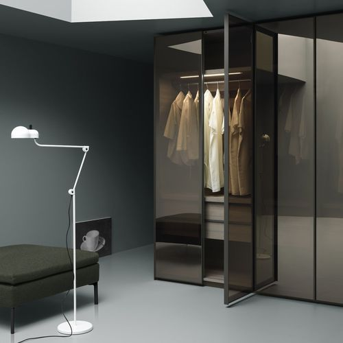 contemporary wardrobe / glass / metal / with swing doors