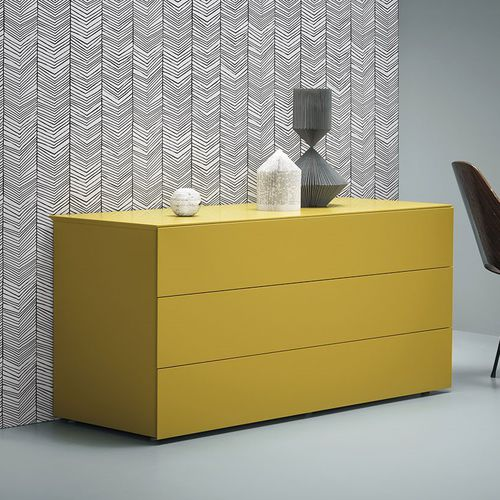 contemporary chest of drawers / lacquered wood / ash / yellow