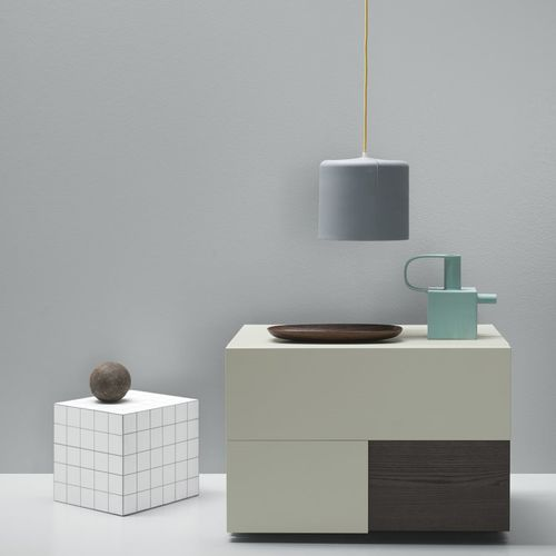 contemporary bedside table / lacquered wood / ash / rectangular