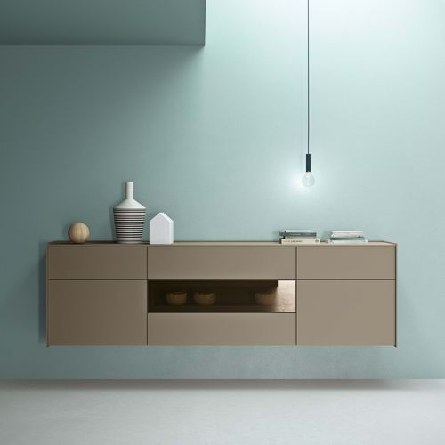 wall-mounted sideboard / contemporary / lacquered wood / brown