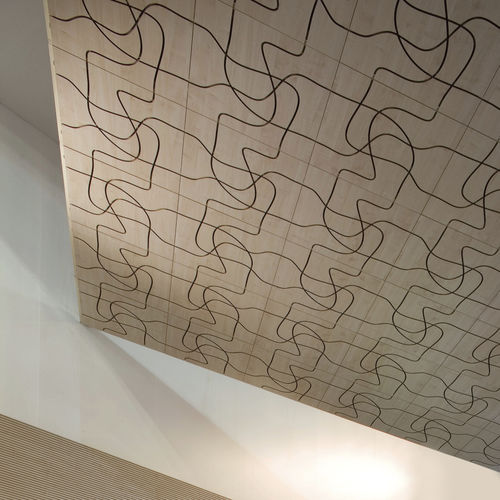 wall-mounted acoustic panel / wooden / decorative / commercial