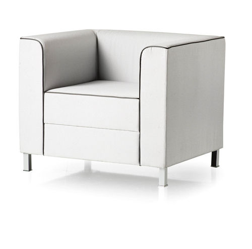 contemporary visitor armchair / fabric / leather / wooden