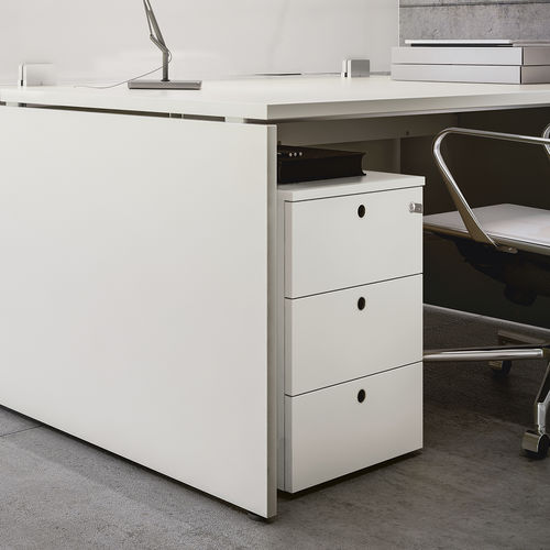 melamine office unit / 3-drawer / on casters / key type