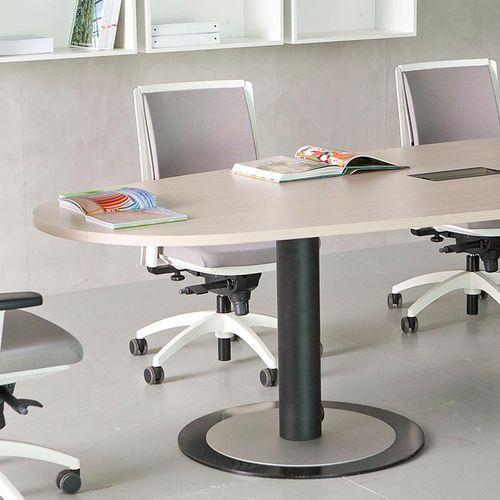 contemporary boardroom table / wood veneer / melamine / square