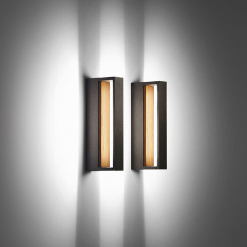 contemporary wall light / outdoor / glass / teak