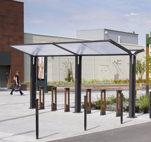steel cycle shelter / polycarbonate canopy