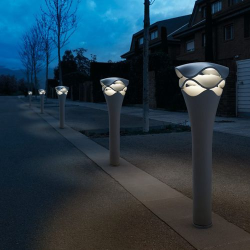 public space bollard light / contemporary / plastic / LED