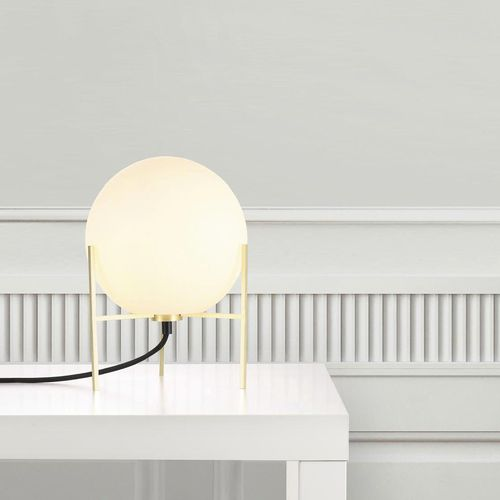 table lamp / contemporary / brushed brass / opalescent glass