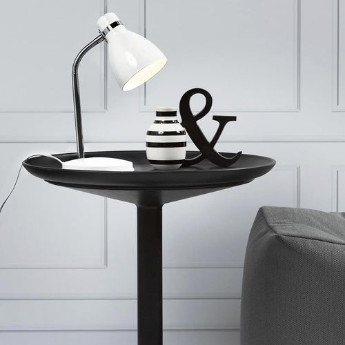 bedside table lamp / contemporary / lacquered metal / white