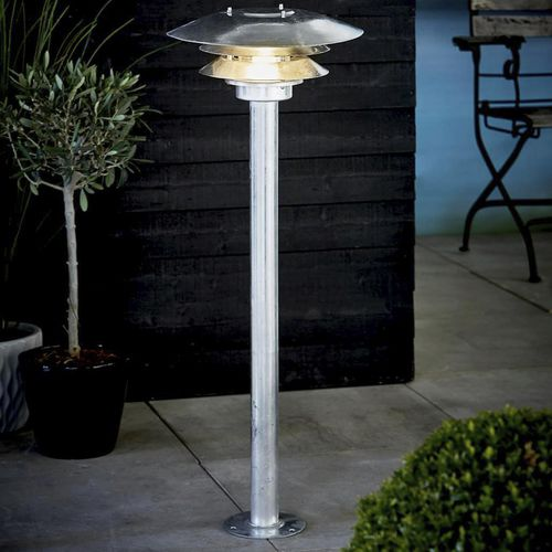 garden bollard light / traditional / galvanized steel / incandescent