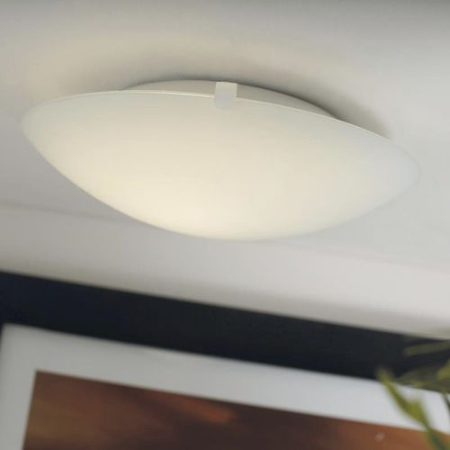 contemporary ceiling light / round / glass / metal