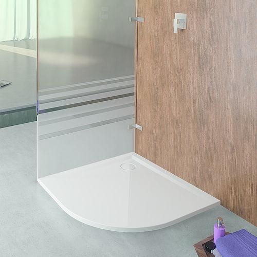 corner shower base / stone resin / extra-flat / non-slip