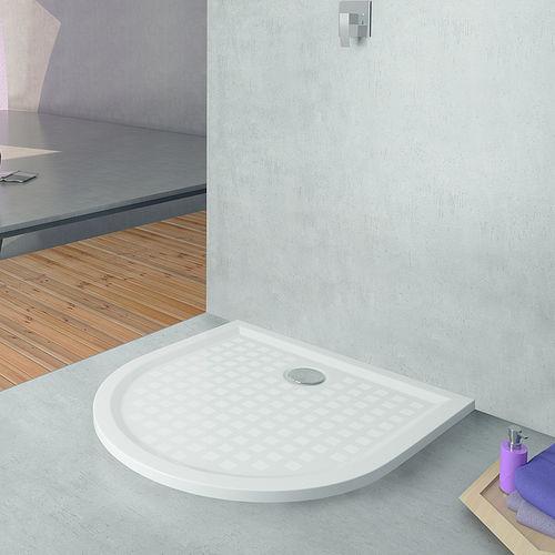 stone resin shower base / non-slip / barrier-free / extra-flat