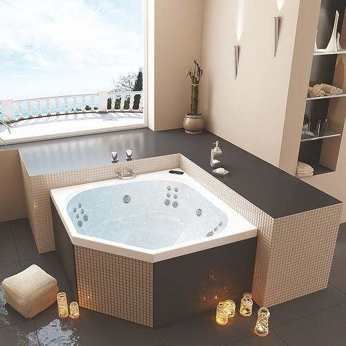 corner bathtub / acrylic / 3-seater / hydromassage