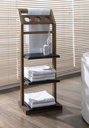 contemporary shelf / teak / bathroom / towel rack