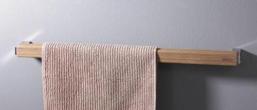 1-bar towel rack / wall-mounted / teak
