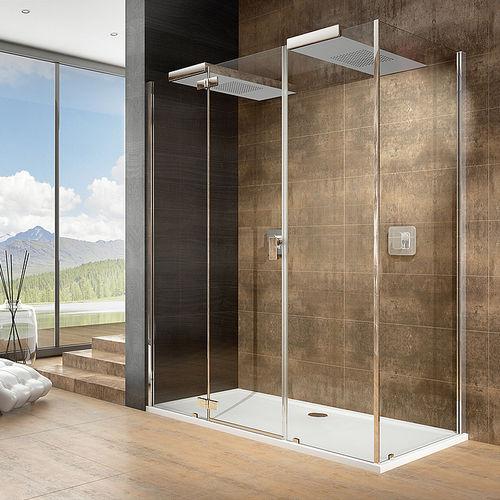 glass shower / corner / with hinged door