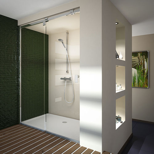 glass shower / for alcoves / with sliding door