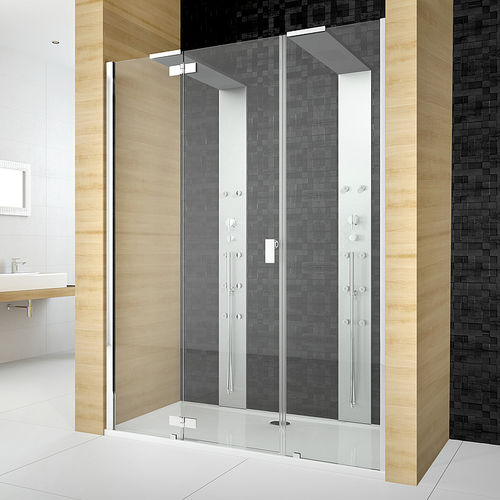 glass shower / for alcoves / with hinged door