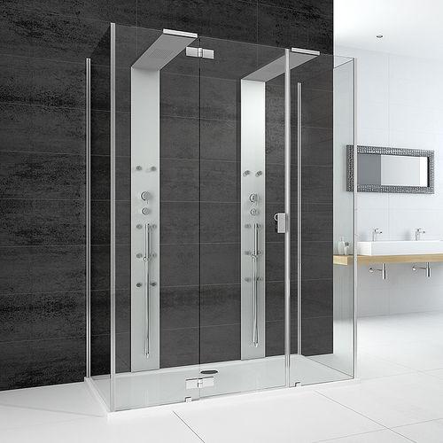 glass shower / rectangular / with hinged door