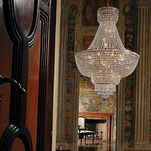 Traditional chandelier / nickel / crystal / incandescent ...