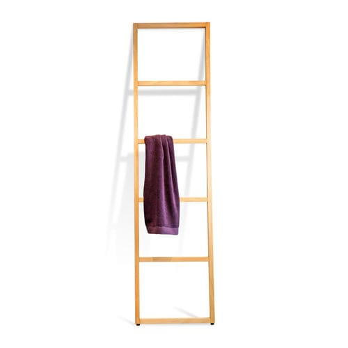 ladder towel rack / floor-standing / wooden