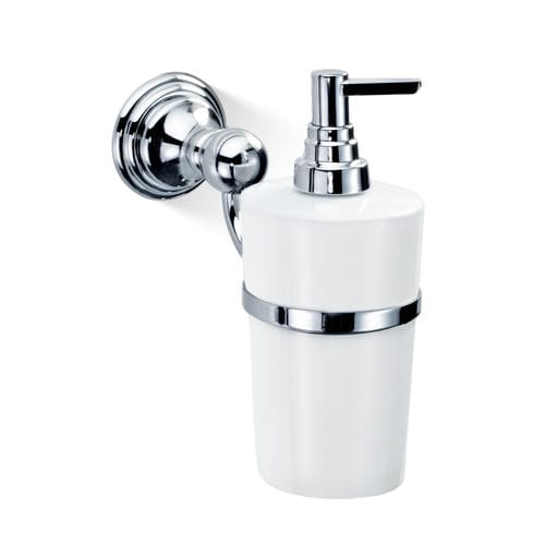 wall-mounted soap dispenser / chrome-plated brass / gold-plated brass / manual