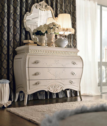 traditional chest of drawers / lacquered wood / white