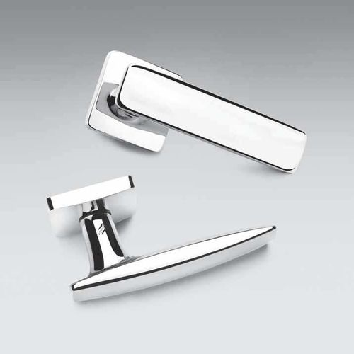 door handle / brass / contemporary / chrome