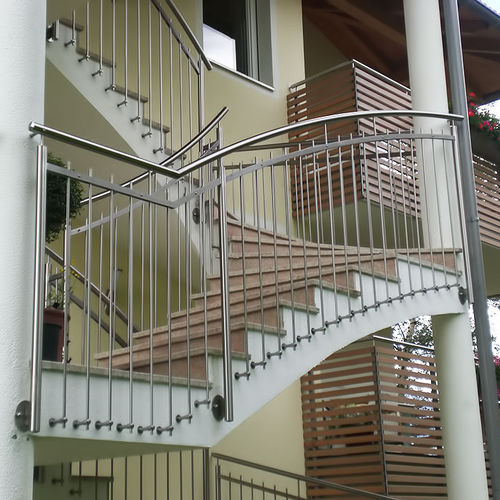 Outdoor railing / stainless steel / with bars / for stairs GE969 INOX DESIGN
