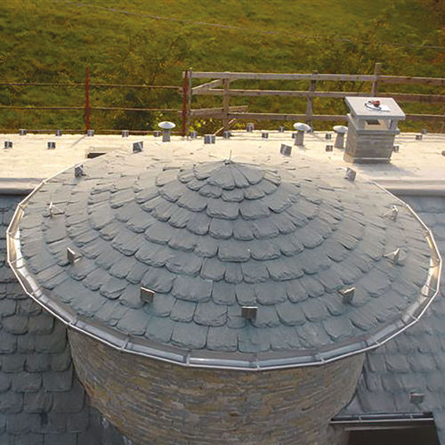 flat roof tile / stone / gray / embossed