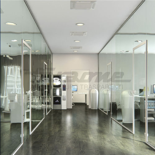 fixed partition / glass / for offices / home
