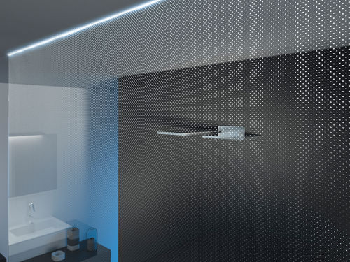 fixed shower screen / corner / illuminated