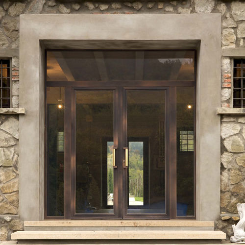 Entry door / swing / wooden / aluminum IRON LINE CIPRIANI SERRAMENTI