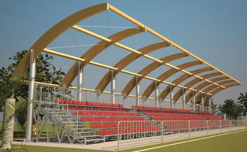 tensile canopy / wooden frame / arch / roof