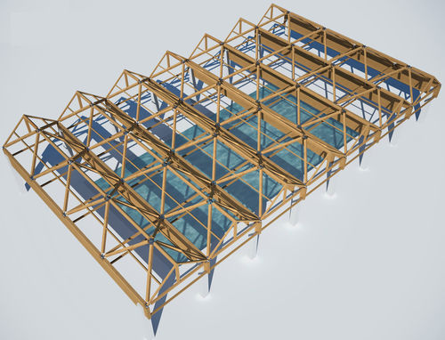 glulam wooden truss / for public pools