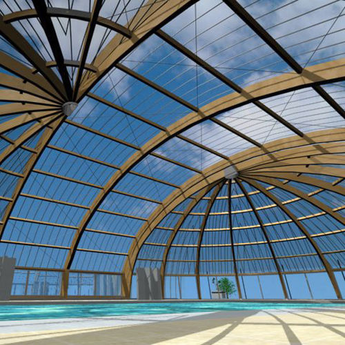 arch tensile structure / wooden frame / roof / with polyester membrane