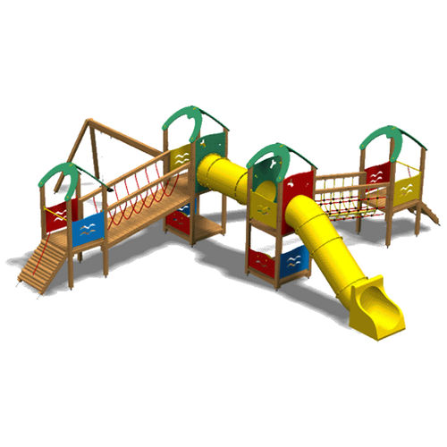 public entity play structure / plastic / wooden / stainless steel