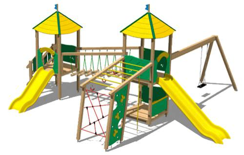 playground play structure / wooden / modular