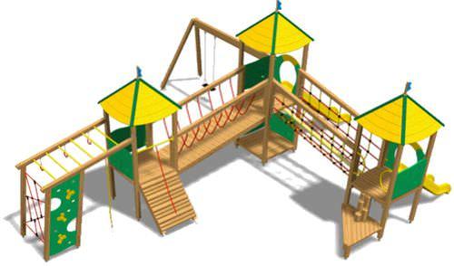playground play structure / wooden / modular