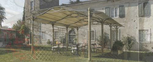 self-supporting pergola / wooden / fabric canopy