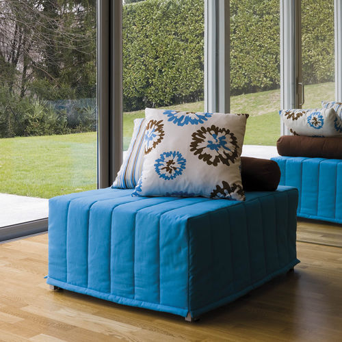 contemporary pouf / fabric / square / bed