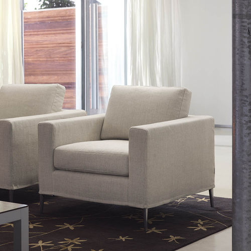 contemporary armchair / fabric / with washable removable cover