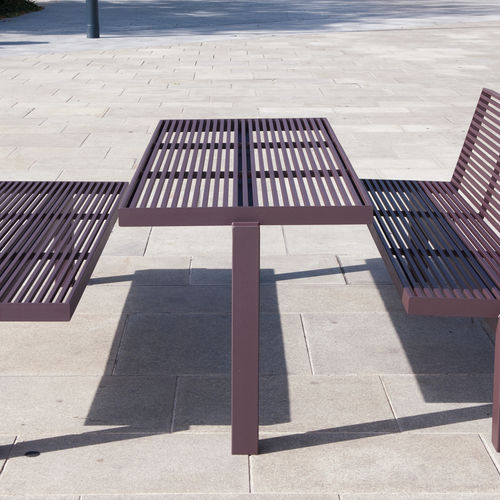 Contemporary picnic table / stainless steel / rectangular / for ...
