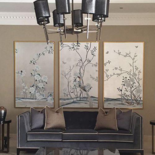Oriental wallpaper / silk / floral / nature pattern